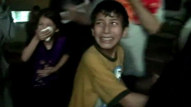 Children in Syria apparently suffering the after-effects of a chemical weapons attack
