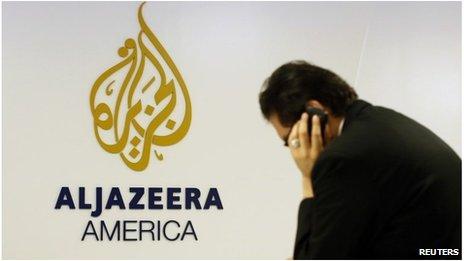 Al Jazeera logo in New York (20 Aug 2013)