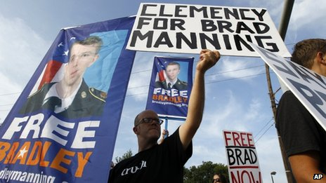Supporters of Bradley Manning hold up banners as they protest before his  sentencing