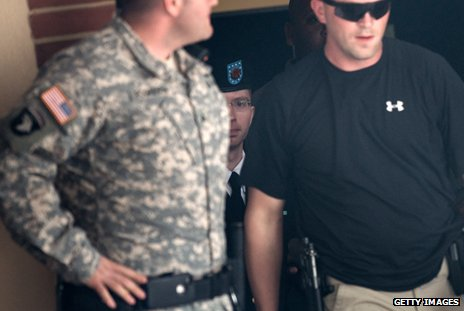 Bradley Manning - and guards - at his trial