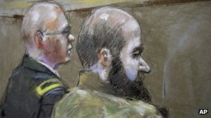 In this court room sketch of court proceedings in the court martial of US Army Major Nidal Malik Hasan, right in Fort Hood, Texas 21 August 2013