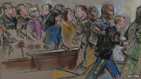 US soldier Bradley Manning is pictured in a courtroom sketch at Ft. Meade in Maryland 21 August 2013