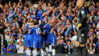 Chelsea celebrate scoring against Aston Villa