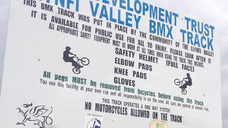 The sign outside the BMX track