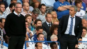 Aston Villa boss Paul Lambert (left) and Chelsea's Jose Mourinho