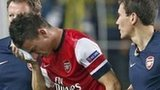 Arsenal defender Laurent Koscielny walks off after suffering his injury against Fenerbahce