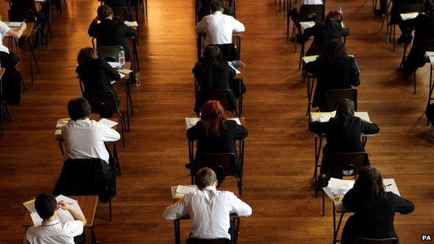 Pupils sitting GCSE exam