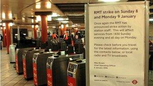 Tube strike notice