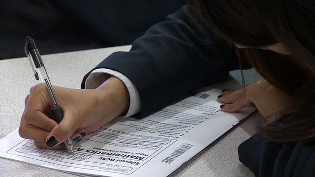 A student taking an exam