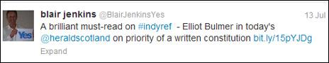 Blair Jenkins tweet