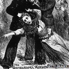 "A fanciful engraving showing ""Jack The Ripper"", the east end Murderer of prostitutes in the nineteenth century,"