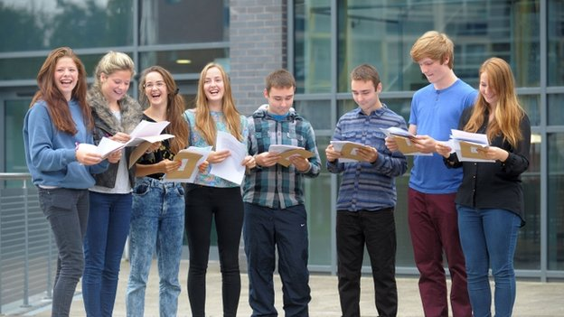 Minnie and Tallulah Crawley, Florence and Dorothy Hislop, George and Sam Price and Marcus and Charlotte Hook, open their GCSE results at St Mary Redcliffe and Temple in Bristol.