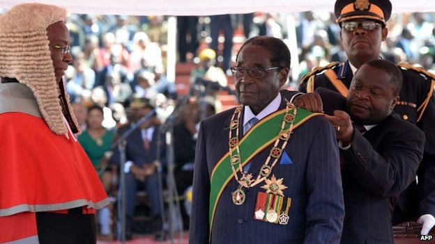 Zimbabwean President Robert Mugabe as he was being sworn in at his inauguration ceremony on 22 August 2013