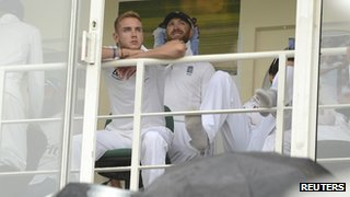 Stuart Broad and Matt Prior on the balcony