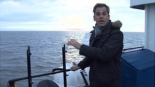 Daniel Sandford on boat in Laptev Sea
