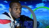 Lutalo Muhammad on a simulator