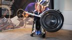 London 2012 Paralympic silver medalist Shelly Woods with a revolutionary new racing wheel which can improve the acceleration of GB wheelchair racers by up to 20 percent.