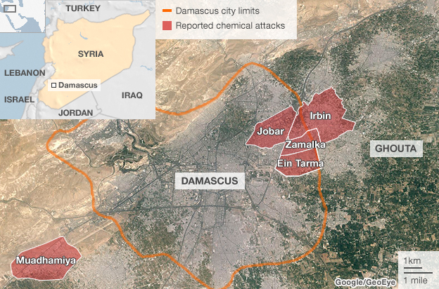 Map showing location of alleged chemical attacks in Damascus