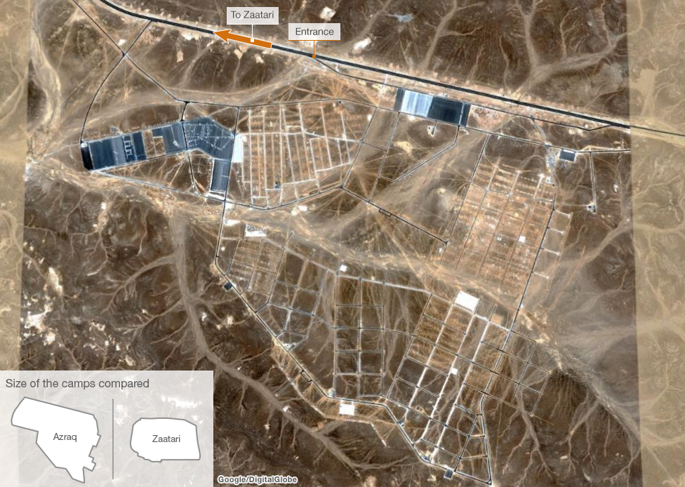 Satellite image of Azraq refugee camp, Jordan