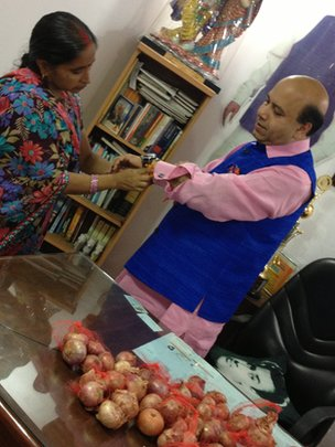 Politician Vijay Jolly has been celebrating the Hindu festival of Rakhi with onions instead of sweets