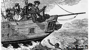 Slave-traders throwing slaves overboard to avoid capture by a British patrol ship