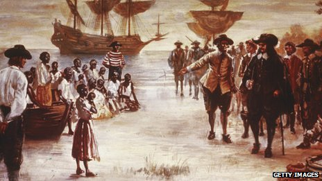 The arrival of a slave ship to Jamestown Virginia, U.S