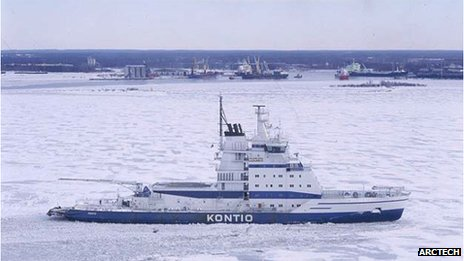 Icebreaker Konito seen in icy water