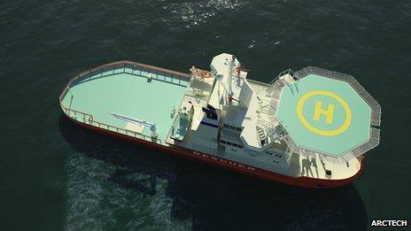A digital rendering of the Oblique Icebreaker NB 508 seen from above