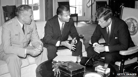 US Secretary of Defense Robert McNamara, US Army chief-of-staff General Maxwell Taylor and President Kennedy