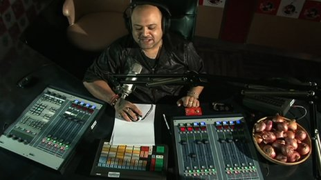 Disc jockey Nitin offers his listeners onions as prizes