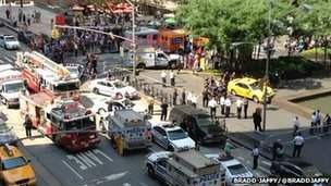 Police and fire engines at the scene in New York