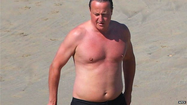 David Cameron on holiday in Cornwall