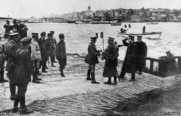 Meeting in Turkey after the defeat of the Ottoman Empire, December 1918