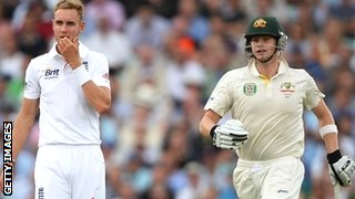 Australia batsman Steve Smith (right) had the better of Stuart Broad