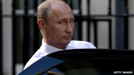Vladimir Putin getting into a car