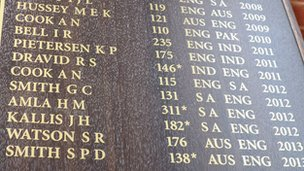 The Oval honours board