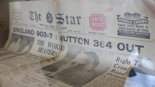 A newspaper marking Len Hutton's 364