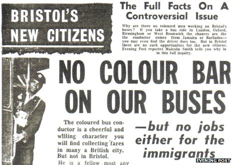 "Newspaper headline reading: ""No colour bar on the buses"""