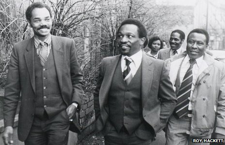 Prince Brown (left), Roy Hackett (right) and other campaigners in Bristol