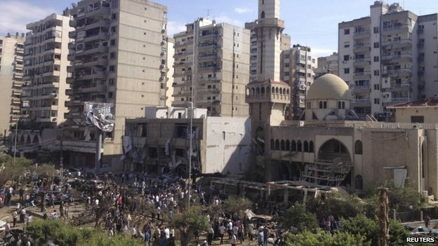 A general view outside one of two mosques hit by explosions in Lebanon's northern city of Tripoli on August 23, 2013. It shows the windows blown out.