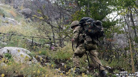 Royal Marines Commandos training in Albania, August 2013