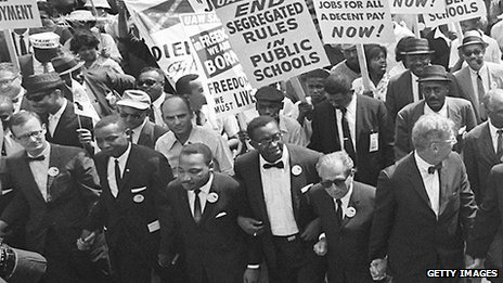 Dr King (third from bottom left) leads the March on Washington