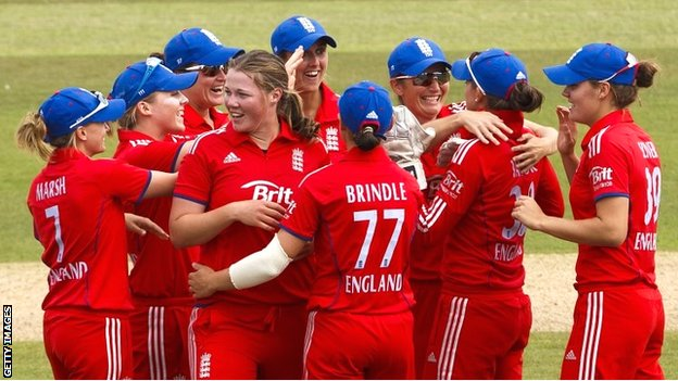 England celebrate another wicket in the Women's Ashes at Hove