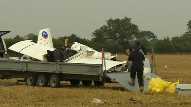 The wreckage of a light aircraft