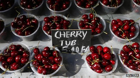 Cherry packs sold at a fruit store in central Sydney on 5 August 2013