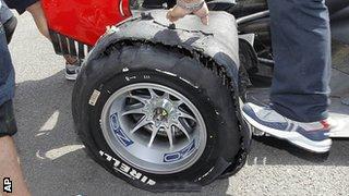 Sebastian Vettel's punctured tyre