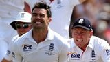 James Anderson celebrates victory in the first Test