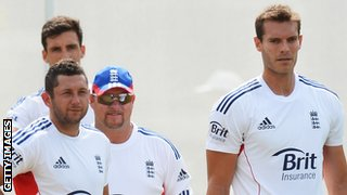 Steven Finn, Tim Bresnan, bowling coach David Saker and Chris Tremlett