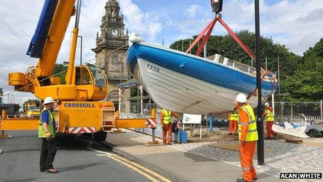 The Tyne being removed for restoration