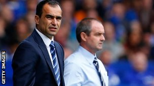 Wigan boss Roberto Martinez (left) and West Brom boss Steve Clarke